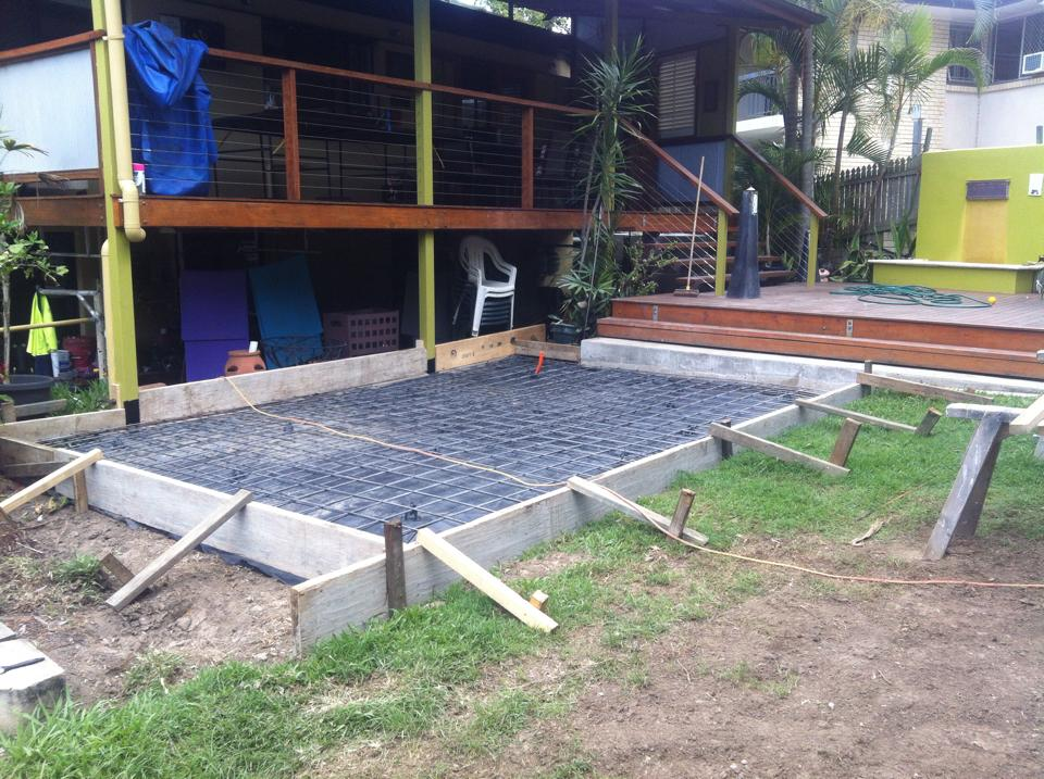 on the installation of a large hot tub in a Coorparoo backyard